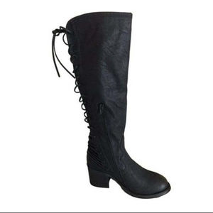 Betseyville Tall Lace-Up Black Boots - 6.5 or 8.5